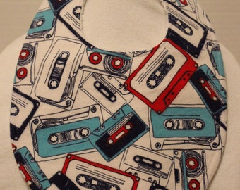 Cassette Tape Flannel / Terry Cloth Bib
