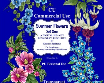 Summer Flowers Set One - CU Designer Resource For Commercial Use/ Personal Use Card Making Scrapbooking etc. - Full Size - PNG