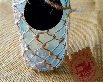 Seashell Catcher Large Painted Mason Jar with Jute Netting