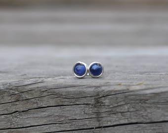 Sodalite Stud Earrings // Second Hole Earrings // Silver Stud Earrings // Tiny Post Earrings // Silver Studs  // Blue Stone Earrings