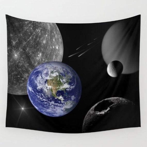 Home Wall Art Tapestry, Space Tapestry, Stars, Planets, Earth, Black Blue Wall Art, Nature, Surreal Home Interior, Moon, Dorm, Office, Yoga
