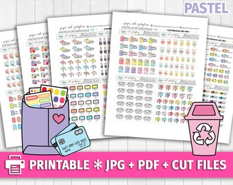 PASTEL Set 5 Multicolor Functional Deco/Printable Planner Stickers/for use with Erin Condren/Cutfiles/Summer Coffee Pink Cute