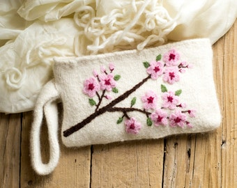 Felted Cherry Blossom Clutch in White, Romantic Accessories, Floral Cosmetic Bag, Pure Wool