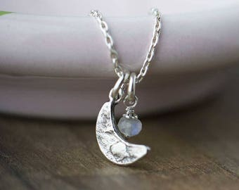 Celestial Moon Necklace with Moonstone | Handmade Sterling Silver Necklace Jewelry by Burnish | Crescent Moon