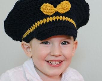 Crocheted Captain Hat - Air Force Pilot Hat - Aviator Hat - Toddler Pilot Hat - Crochet Baby Hat - Halloween Costume - Newborn Photo Prop