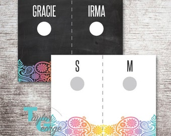 Lula Hanging Rack Size Cards - Style Tags - Hanging Rack Cards - Clothing Size Dividers - Clothing Style Dividers