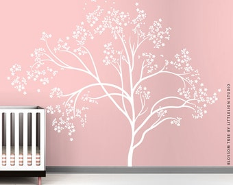 White Blossom Tree Extra Large Wall Decal Wall Decal by LittleLion Studio