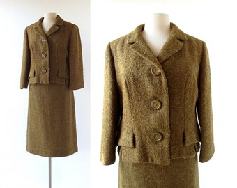 1950s Skirt Suit | Boucle Wool Suit | 50s Women's Suit | Medium M