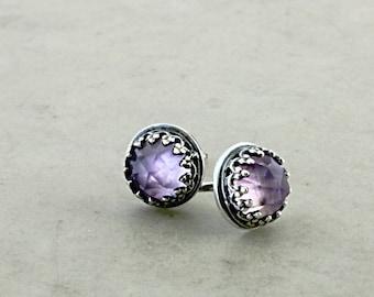 Amethyst stud earrings, Sterling Silver, lilac gemstones, Birthstone jewelry