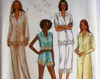 Very Easy Sew Misses Nightshirt, Panties, Pajama Top and Pajama Pants Sizes XS S M Butterick Pattern B4084 UNCUT