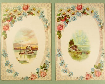 Hirsch Communion Photography Trade Card - Victorian Scenic Floral Advertising