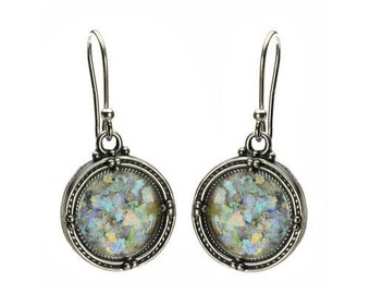 Silver Filigree Design Earrings with Roman Glass