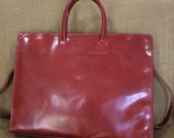 Genuine vintage ALEX Firenze tan leather briefcase with shoulder strap