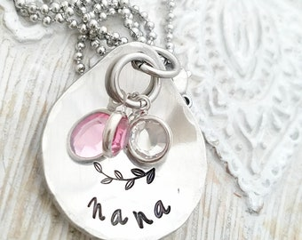 personalized necklace- nana necklace-Grandmother necklace-hand stamped jewelry-birthstone necklace - mom necklace - nana gift-gift for mom