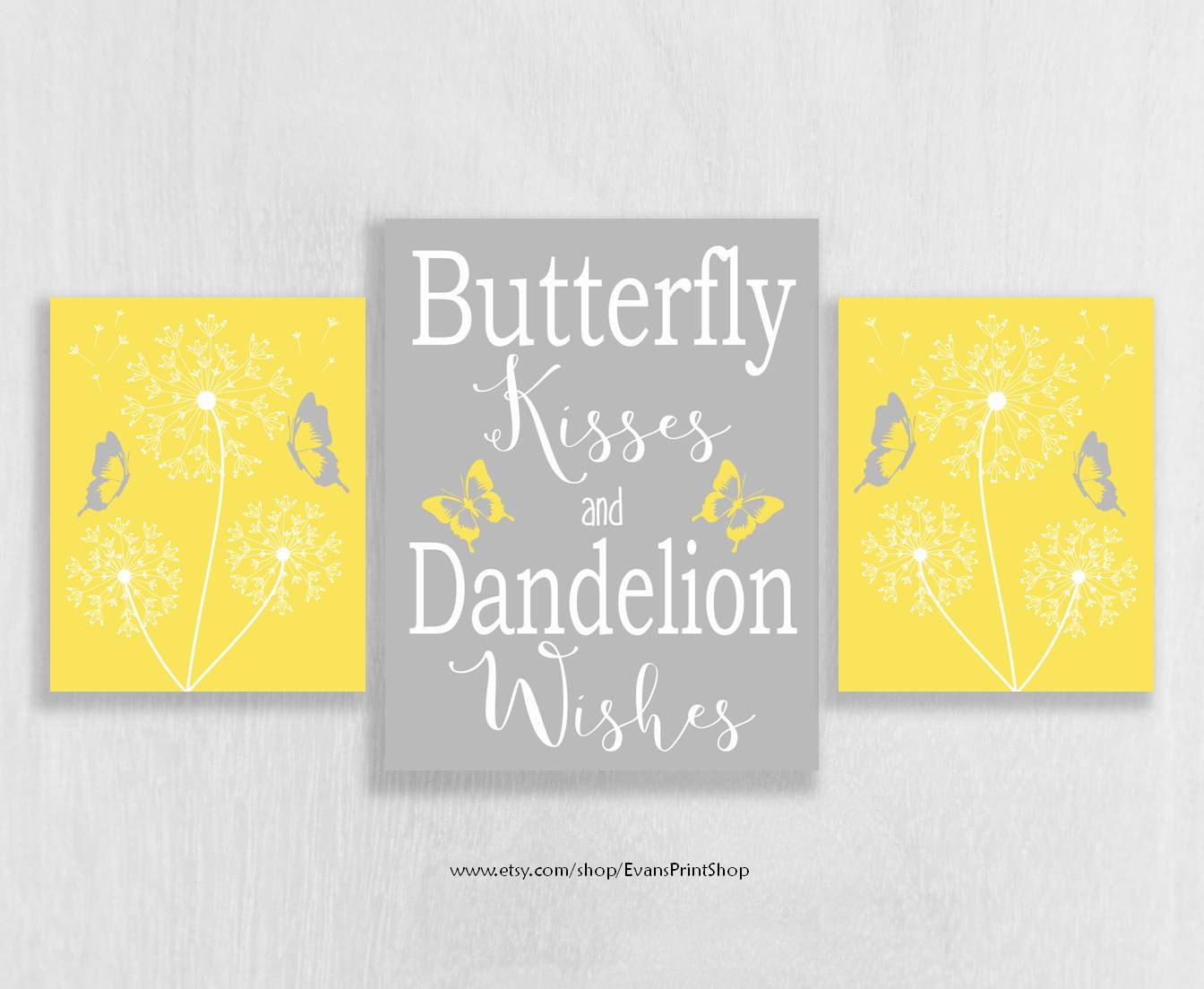CANVAS Yellow and Grey Wall Decor Yellow and Gray Nursery