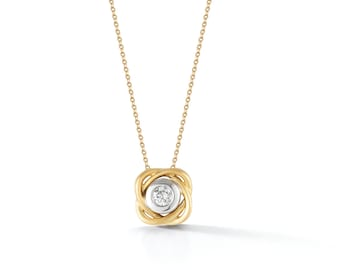 Scribble Infinity Diamond Solitaire Necklace - 18K Yellow Gold & Diamond