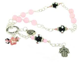 Meditation or Prayer Beads, Hamsa & Tree of Life Symbols, Courage Affirmation Beads