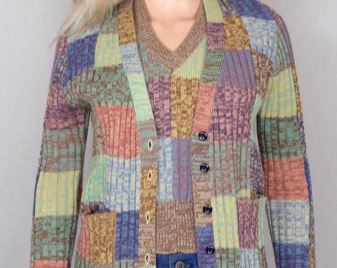 Vintage 1970's Women's Hukapoo SpAcE DyEd Rainbow PATCHWORK HiPPiE CoLoR BLoCkeD Cardigan Sweater & Vest Set Size M