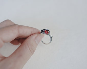 Dragon blood, red agate, 925 silver, open ring