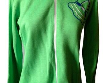 Vintage 70s Green Tennis Warm Up Jacket SIZE S zip up light jacket