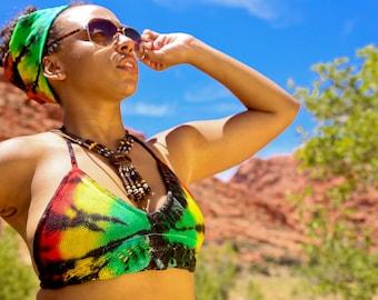 Crocheted Bathing Suit Top, Tie Dye Festival Top, Summer Trippy Top, Rasta Bikini Top, Jamaican Clothing