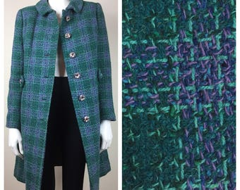 blue green tweed coat w/ chunky buttons 60s