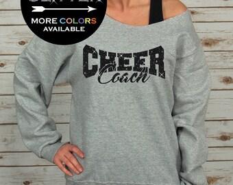 Cheer Coach Off Shoulder Raw Edge Sweatshirt for Women GLITTER // Coach Sweatshirt, Cheer Shirt, Cheerleader, Plus Sizes (Black Glitter)