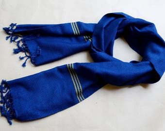 Indigo Scarf, Natural indigo plant dyed hand loomed weaving/ikat scarf