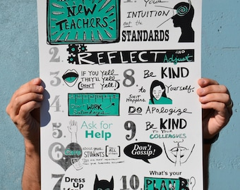 Advice for New Teachers - Screenprint Poster