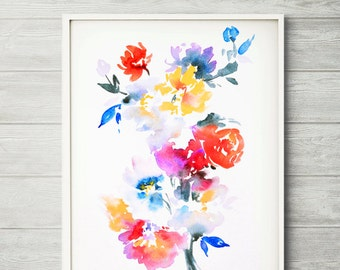 Watercolor flower print, 8X11 inch A4 archival print, LIMITED EDITION, abstract painting, colorful art, floral wall decor, floral painting