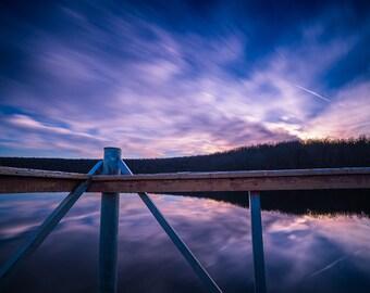 Sunset dock landscape photo, Photography Fine Art Print, Photo of a beautiful sunset from a dock on lake Bixhoma