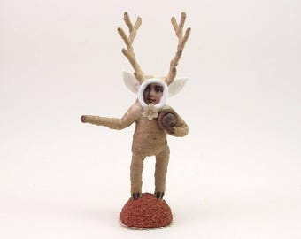 Spun Cotton Vintage Style Deer Boy FIgure (MADE TO ORDER)