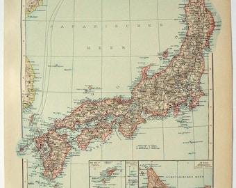 Japan: Original 1896 Map by Velhagen & Klasing. Antique