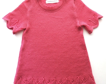 Babygirls/Girls knitted woolen short sleeve lace dress/midseason/thin/summer/light/pink