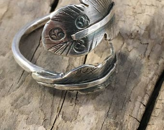 sterling silver feather ring - feather wrap ring - feather jewelry - silver feather - boho wrap ring - boho style - feathers