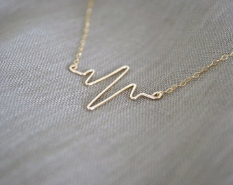 Gold Filled Heartbeat Necklace, Gold Filled Chain, Sterling Silver Available