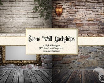 Old Stone Wall backdrops, digital scrapbook paper, room photo backgrounds, digital photography backdrops, gothic rustic wood textures