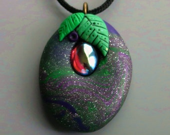 Galaxy Pendant Necklace Polymer Clay with Vintage Amethyst AB Cabochon