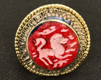 Vintage Kuchi Round LION Carved RING Theater Opera Belly Dance Uber Kuchi®