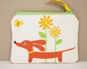 Doxie in the Autumn Garden Cute Dachshund Whimsylicious COIN PURSE Pouch Featuring Our Exclusive Fabric GREAT STOCKING STUFFER