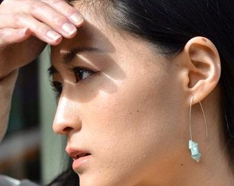 Amazonite Earrings, Seafoam Green Earrings, Long Dangly Earrings,, Minimalist Earrings, Ecofriendly, Reclaimed, Aquamarine Earrings