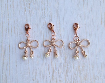 Rose gold bow charm with white pearl dangles TN planner dangle clip