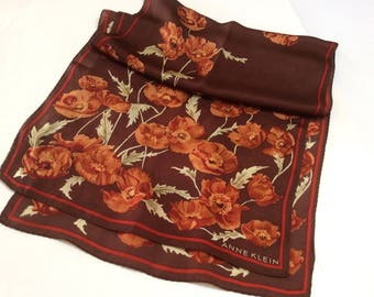 Vintage Anne Klein Silk Scarf, Designer Silk Scarf, Autumn Colours with Poppies, Copper and Rust