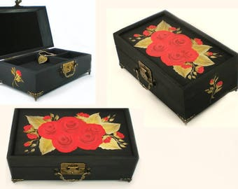 Hand Painted Red Rose Jewelry Box- Red Roses, GOLD Leaves - Custom Jewelry Box Personalized Birthday Gift Ideas for Mom Engagement Ring Box