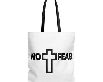 No Fear | 1 JOHN 4:18 | Bible Quote | Christian Quote | Christian Tote Bag | Scripture Tote Bag | Bible Quote Tote Bag | Tote Bags