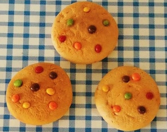 """3 American Girl doll M&M cookies, 18"""" doll M and M cookies, polmer clay doll food, 1:3 scale polymer clay M and M cookies"""