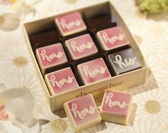 Chocolate Hers, Hers, His Box