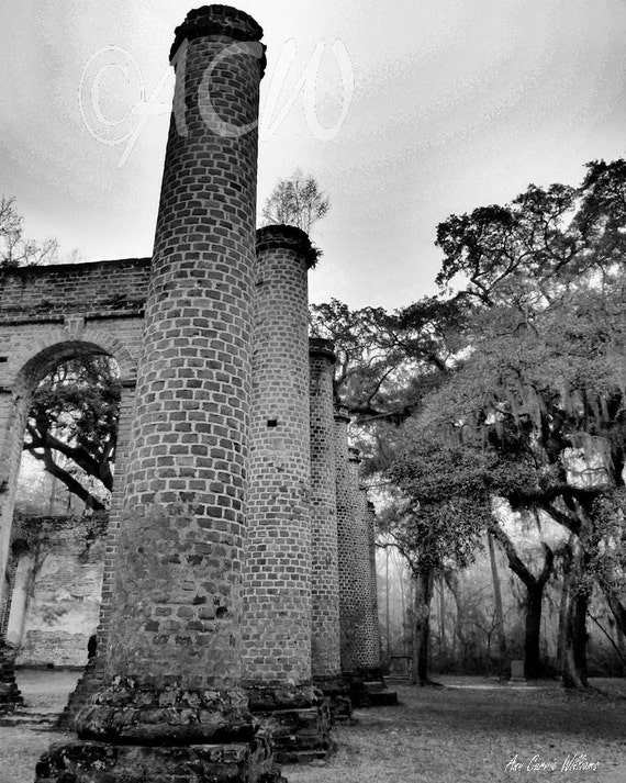 Sheldon Church, Yemassee, South Carolina 's historic ruins and columns in Black and White (canvas)