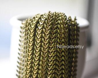 Enamel Brass Arrow Chain 6mm, Flat Chevron Chain, Herringbone Fish bone Designer Chain, Olive Green Olivine (#LK-048-3)/ 1 Meter=3.3ft