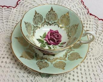 Paragon Soft Bluish Green Large Rose Tea Cup and Saucer